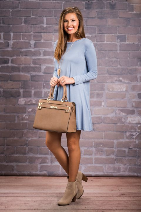 """""""Create Your Happiness Piko Dress, Sky Blue""""This Piko dress just creates happiness! Once you slip it on you will understand! It's fabric and fit are so comfy and soft in typical Piko fashion! #newarrivals #shopthemint"""