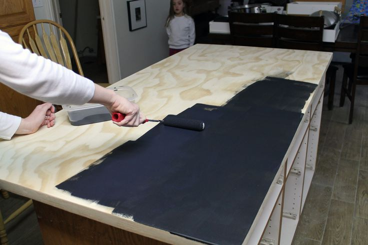 diy soapstone countertop plywood chalkboardpaint | DIY Faux Soapstone Countertops