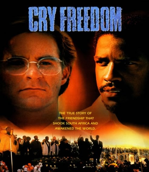 CRY FREEDOM (1987), Sir Richard Attenborough's lesser known cinematic masterpiece about the apartheid era in South Africa, made just four years after GANDHI. Fine performances by Kevin Kline and the young Denzel Washington.