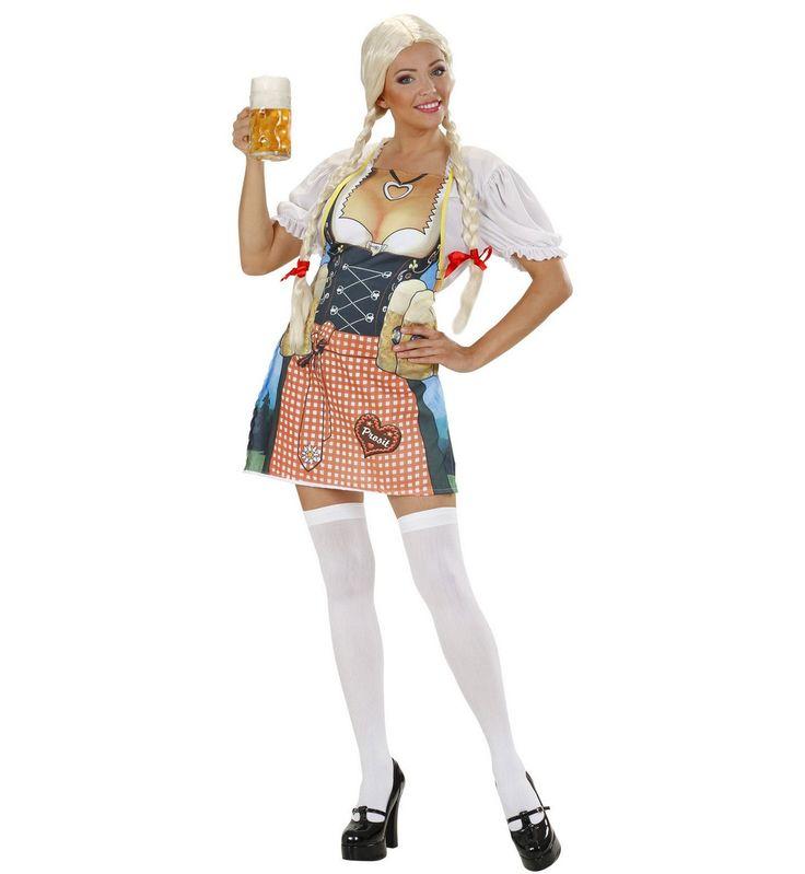 Tablier bavaroise adulte  : Ce tablier pour adulte représente une serveuse bavaroise avec des chopes de bière (seul le tablier est inclus). Il s'attachera dans votre dos à l'aide de deux liens. Cet...