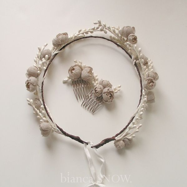 vintage pips and handmade linen blossoms crownlet by Bianca Snow.Hair Piece