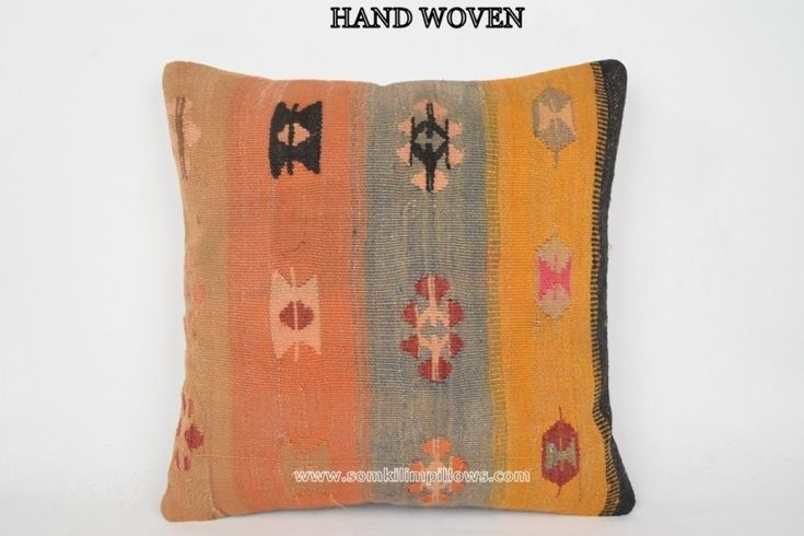 20x20 inches (50x50 cm.) Bohemian Style Pillow, Outside Footstools, Oriental Rugs, Sofa Pillows, Stripe Floor Pillow, Vintage Pillow Cases, Cheap Kilim Pillows, Floor Pillow Cover, Unique Home Decor, Stripe Outdoor Pillow, Kilim Pillows.Wool & cotton vintage Turkish Kilim pillow cover with the h