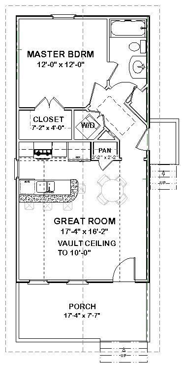 Complete house plans 648 s f mother in law cottage for Small house plans with mother in law suite