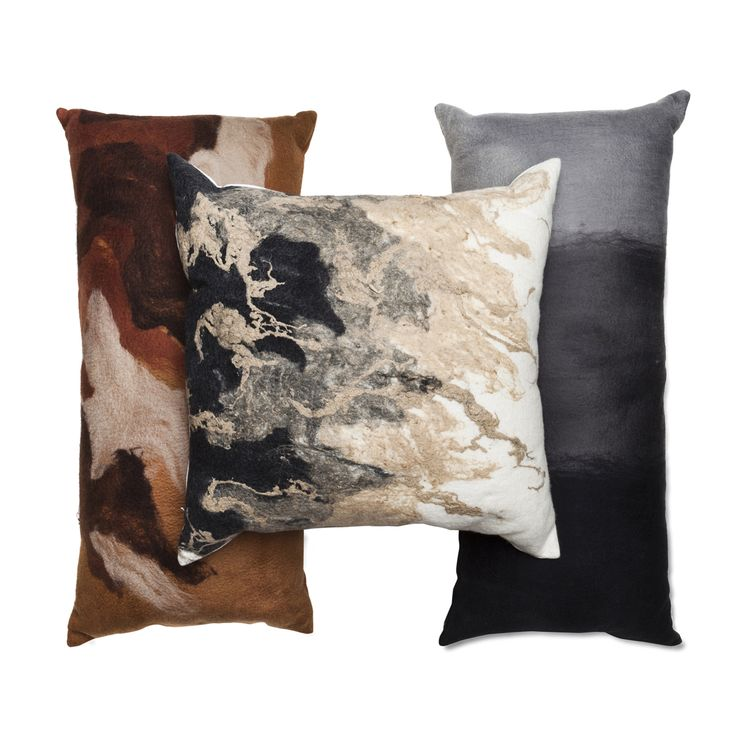 Our felt and silk pillows in remarkable neutrals