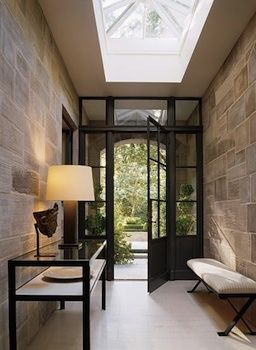 Glass wall & Door entry way.... Torn between using this idea combined with a few other glass walls for a project and optimizing security by avoiding a glass wall at the front of the house.