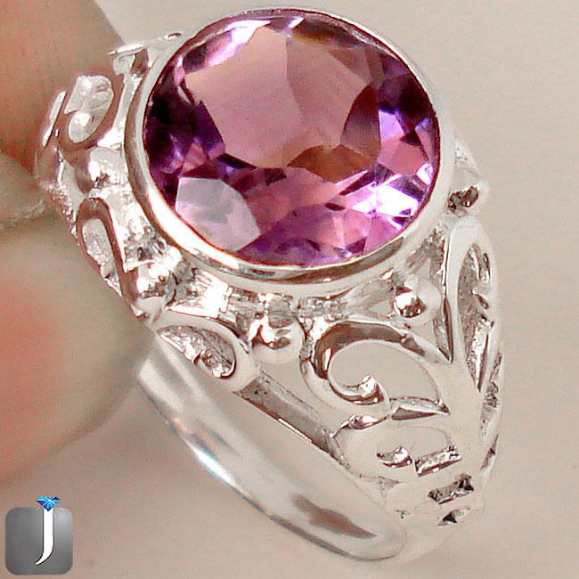 CHARMING PURPLE AMETHYST 925 STERLING SILVER RING JEWELRY size 8.5 C72670