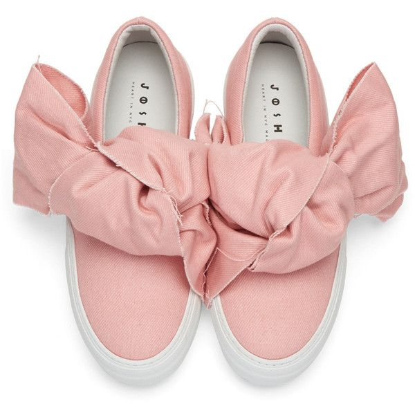 Joshua Sanders Pink Denim Bow Double Slip-On Sneakers ($385) ❤ liked on Polyvore featuring shoes, sneakers, pull on sneakers, platform trainers, slip on trainers, pink platform shoes and denim shoes