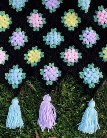 vintage crochet granny popcorn afghan