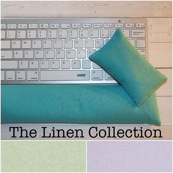 Linen  Mouse pad set  mouse wrist rest  keyboard rest   by Laa766  chic / cute / preppy / computer, desk accessories / cubical, office, home decor / co-worker, student gift / patterned design / match with coasters, wrist rests / computers and peripherals / feminine touches for the office / desk decor