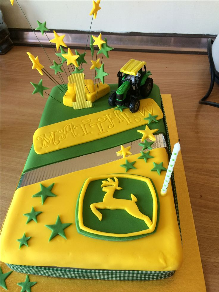 John Deere Birthday Cake - Matthew's 1st birthday (using an Asda 40-serving 'decorate-your-own' as a base)
