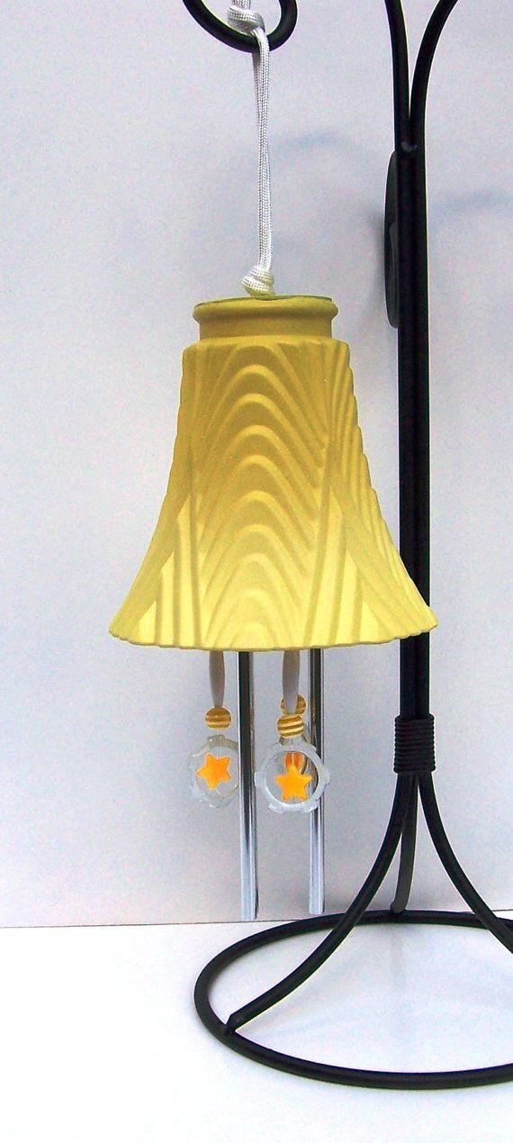 Yellow Light Shade Windchime Glass Globe Wind by handcreated4u