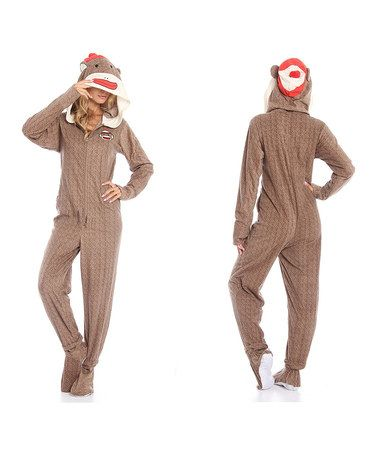 This Brown Sock Monkey Costume Footie Pajamas - Women by Undergirl is perfect! #zulilyfinds