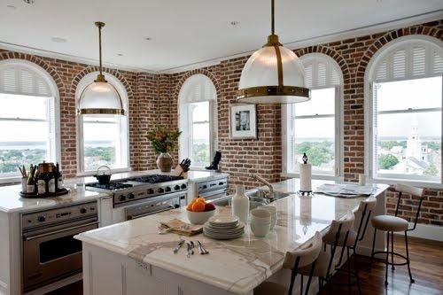 exposed brick kitchen - lots of windows