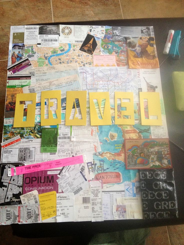 Travel collage... Plane and train tickets, maps, club tickets, postcards, museum and attraction tickets, etc.