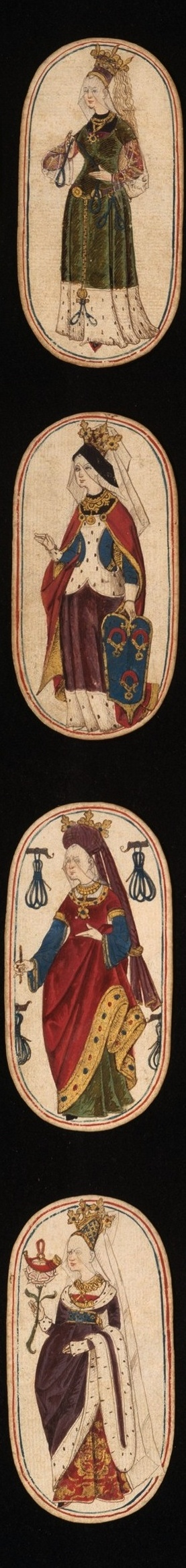 From a set of fifty-two playing cards, ca. 1470–1485, South Netherlandish. The suit symbols, based on equipment associated with the hunt, are hunting horns, dog collars, hound tethers, and game nooses.