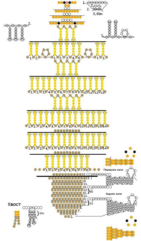 Схема плетения из бисера - лев