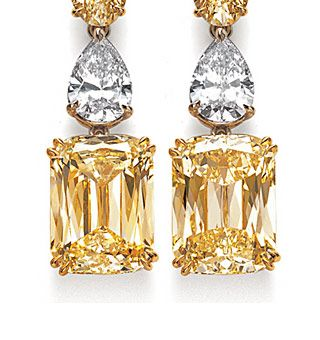 Ashoka fancy yellow and white diamond earrings - detail