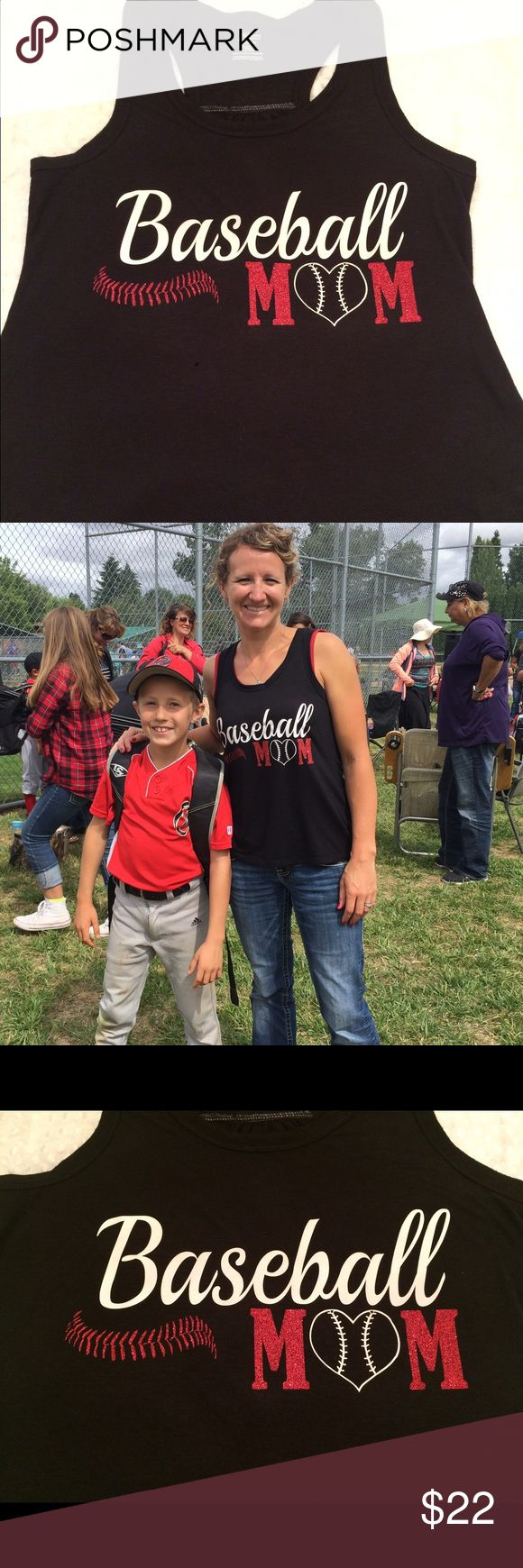 """NEW Baseball Mom tank custom sports racerback Custom tank with """"Baseball MOM"""" on it. Show your support year round!! Available in more colors/sizes. Tops Tank Tops"""