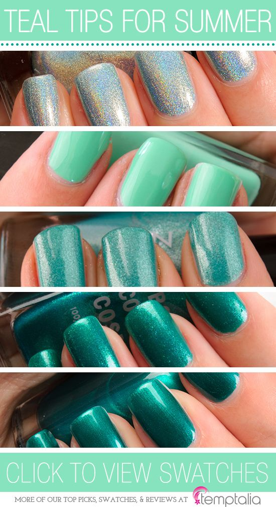 5 Teal Nail Polishes to Try for Summer - 1.Color Club Angel Kiss — a holographic, sea foam green 2.Illamasqua Nomad — a bright, aqua green cream  3.Zoya Zuza — a shimmery teal  4.OCC Man by Man — a metallic teal  5.Zoya Giovanna — a deep teal