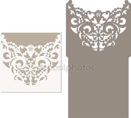 Descargar - Plantilla de sobres para invitación de boda del corte del laser — Ilustración de stock #115711064