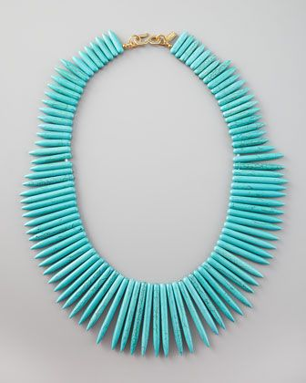 Spiky, bright, tribal: Kenneth Jay Lane Turquoise Spike Necklace