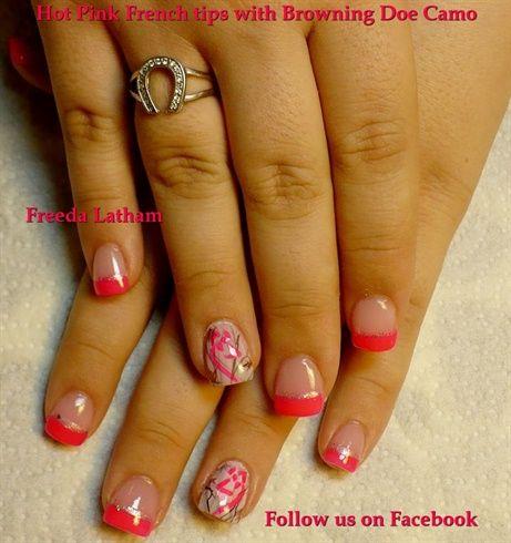 hot pink french tips 26 browning doe camo freedalatham - nail art