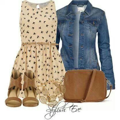 Western feel Dress with Blue Jean Jacket and Brown excessories.