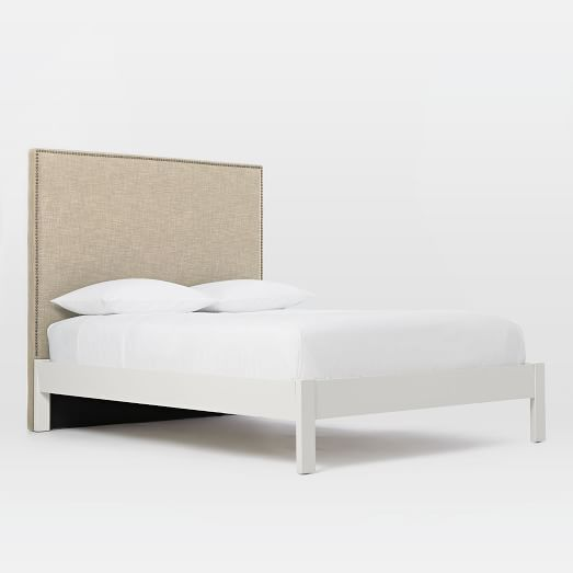 Tall Nailhead Headboard (Natural) + Simple Bed Frame (White) | west elm