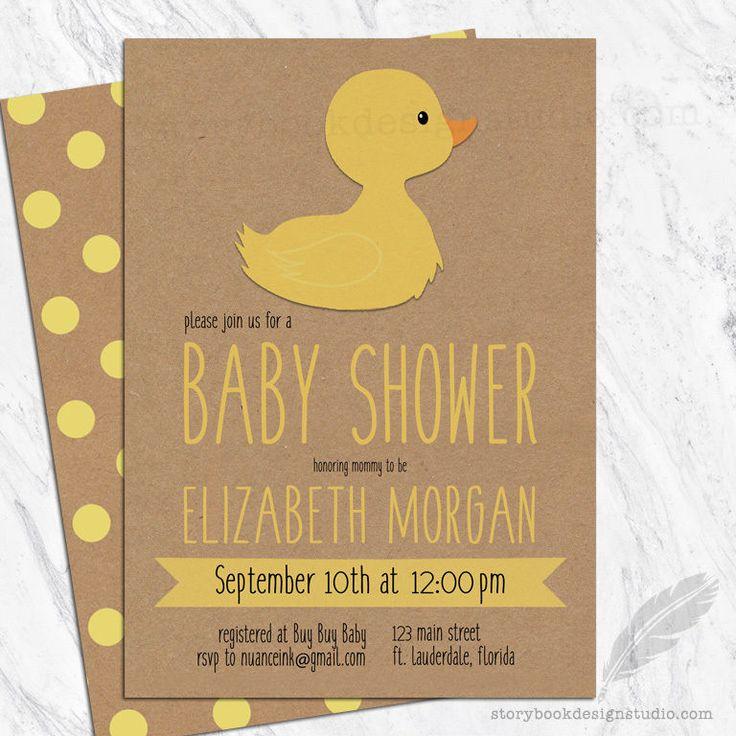 Rubber Ducky Baby Shower Invitations / Yellow Duck Gender Neutral Boy Girl Chic