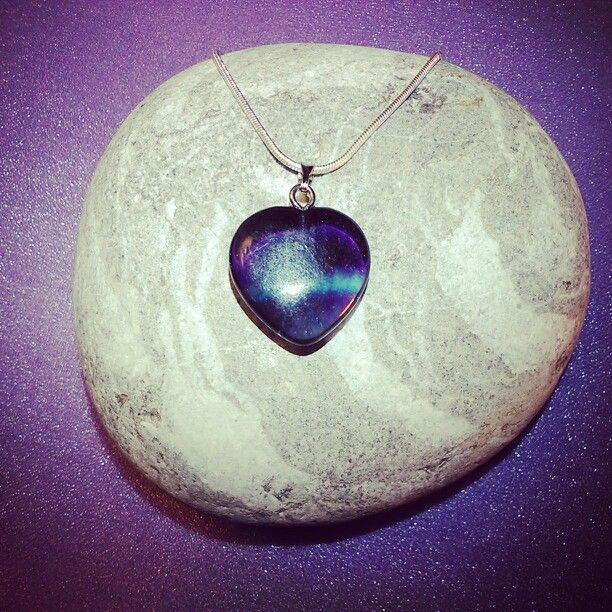 Silver + SemiPrecious Heart PENTANT Collection - RAINBOW FLUORITE