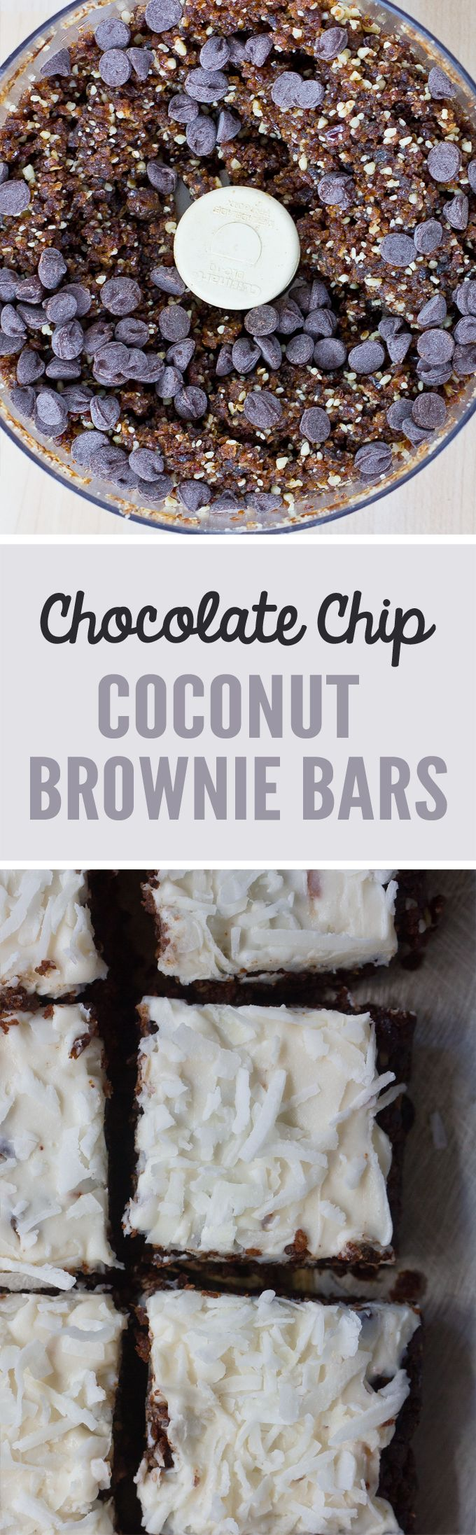 Lucy's favourite ...Coconut Brownie Bars - Ingredients: 6 tbsp cocoa powder, 1/2 cup shredded coconut, 1/4 cup... Full recipe: http://chocolatecoveredkatie.com/2016/09/01/coconut-chocolate-chip-brownie-bars-raw-vegan/ @choccoveredkt