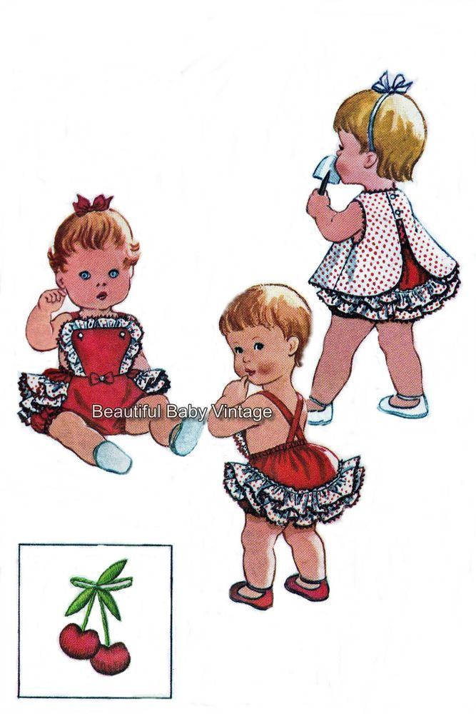 1950s SEWING PATTERN Baby Girl or Doll Romper Top Pants Jumpsuit 1/2 1 2 3 COPY