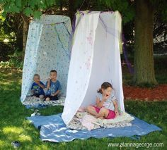 """""""Magical Play Tents""""   What You Need: 1. Hula Hoop 2. Fishing Line or Rope 3. Old Sheet/Sheets 4. Tree :)   Start off by Wrapping one end of the sheet around the hula hoop and secure with safety pins or poke a hole through the sheet flap and sheet and secure with string. Make sure to attach it every 3 inches or so all the way around hula hoop leaving 1 1/2- 2 foot opening at front. Then Attach to tree!!"""
