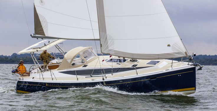 The new Marlow-Hunter 40 in a publicity photo that no European sailboat builder would dream of using-- sailing in the rain! This boat has two ensuite staterooms and a large saloon.