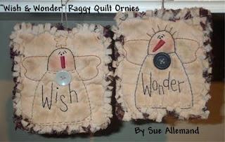 """Free Stitchin' Patterns: """"WISH & WONDER"""" RAGGY QUILT ORNIES"""