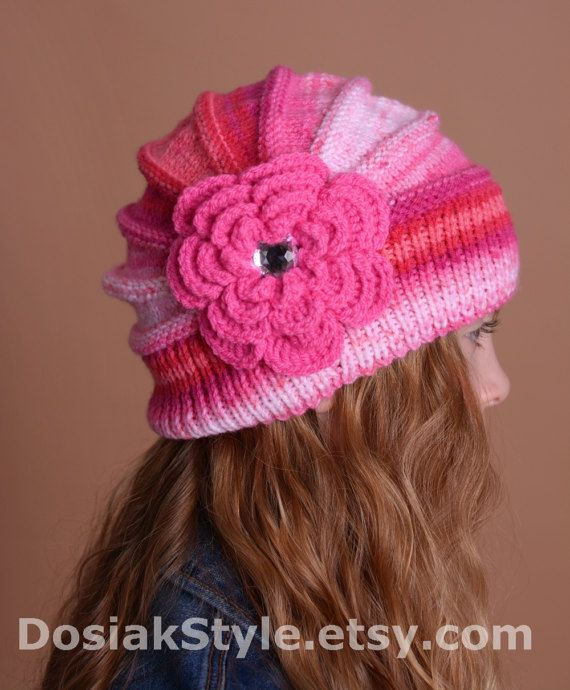 Knitted Children's hat cap red pink cream fuchsia by DosiakStyle, #KnittedChildren'shatcap, #redpinkhatcap
