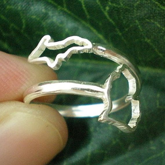 Michigan Upper & Lower Peninsula State Ring - ByPass Outline Silver Any State Ring Jewellery
