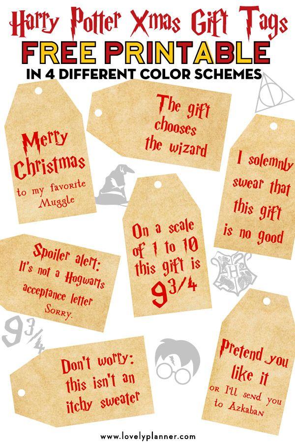 Free Printable Harry Potter Christmas Gift Tags