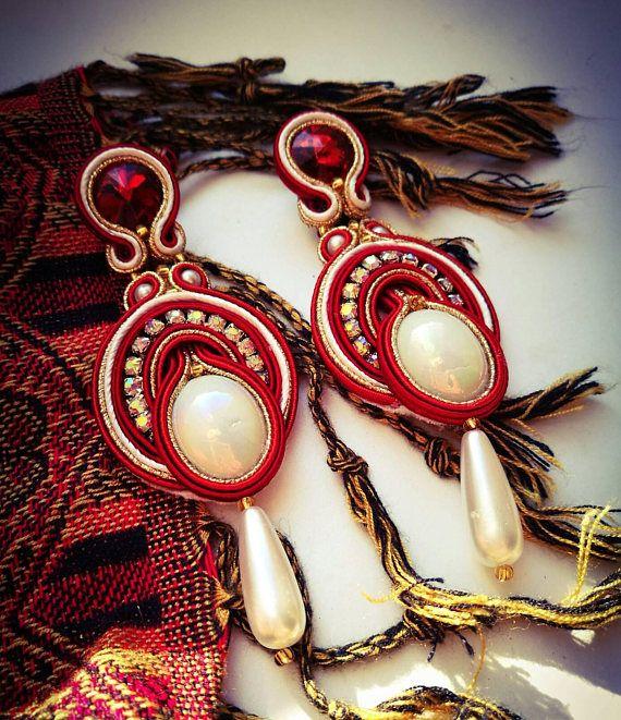 Red  and white handmde soutache earrings for christmas gift