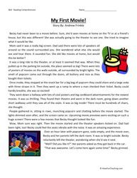 my first movie third grade reading comprehension worksheet