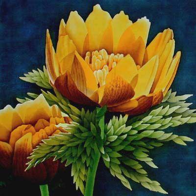 Silk Painting Adonis Amurensis