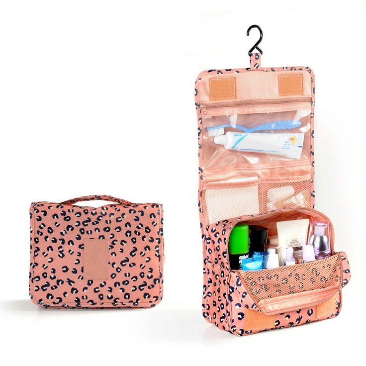 Cosmetic Storage Box Travel Organizer Toiletry Cosmetics Makeup Hang Bag Pink