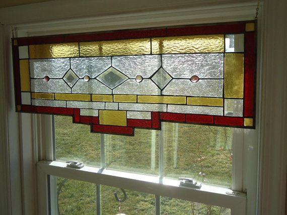 Tiffany Styled Stained Glass Transom Window Panel by HelioGlass