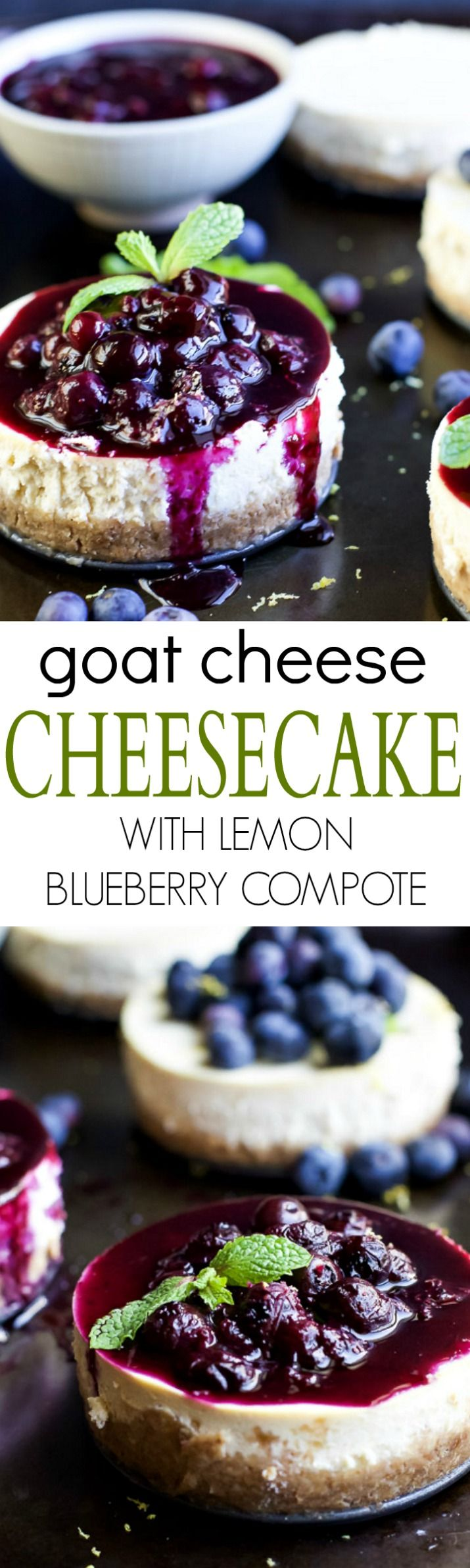 The dessert of your summer dreams! Mini Goat Cheese Cheesecake - it's fluffy, light, super creamy with a slight hint of lemon then topped with a homemade Lemon Blueberry Compote that will blow your mind! | joyfulhealthyeats.com