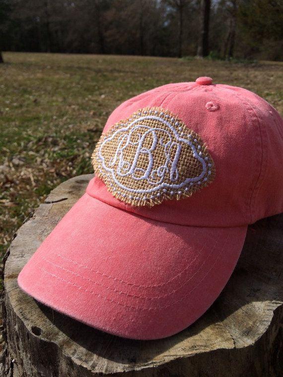 Burlap Monogram Baseball Cap/Hat by KatiePickleDesigns on Etsy