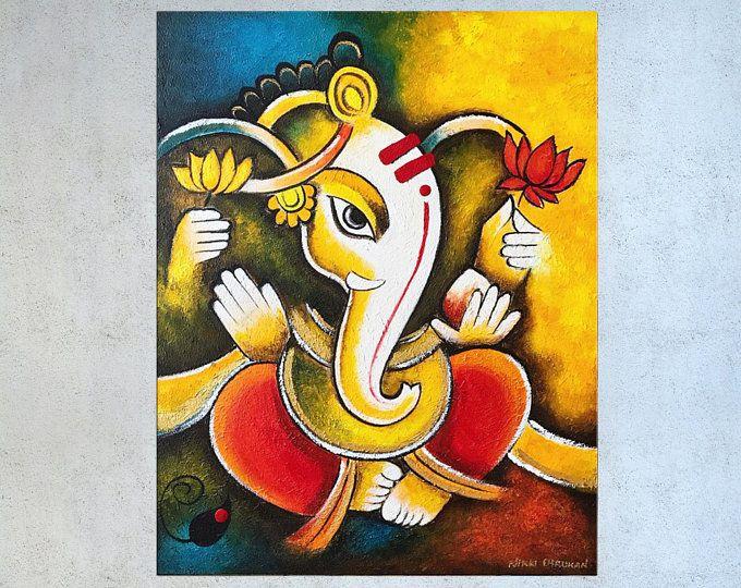 Pin By Ananya On My Saves Indian Paintings Ganesha Art Ganesha Painting
