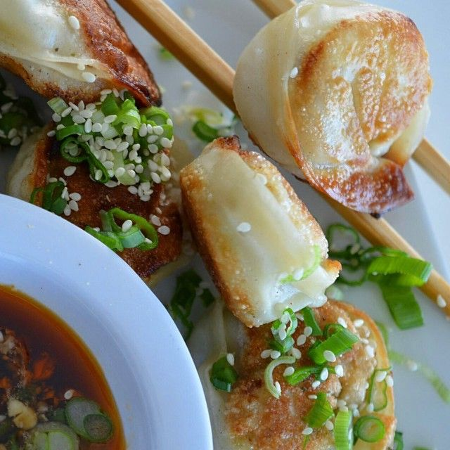 """""""Garlic Lovers Pan Fried Dumplings  Here is the recipe, and the final plating picture on those dumplings I've made. So easy! Check out my video further…"""""""