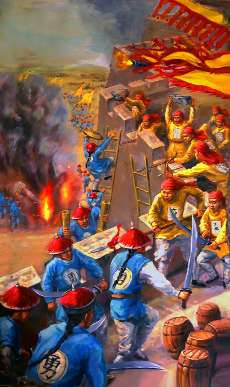 Imperial Qing army attempt to take the town's wall at the Battle of Sanhe, Taiping Rebellion, China