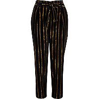 Black metallic stripe tied tapered trousers - tapered trousers - trousers - women
