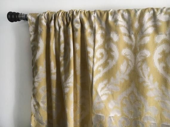 Moroccan Yellow Silver Blackout Curtain Panels 84 96 108 120 130 Inch Damask Custom Curtains Window Curtain Panel